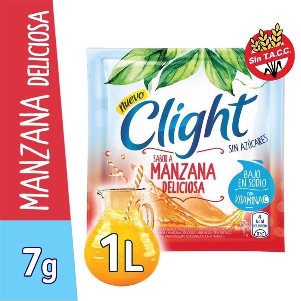 Jugo En Polvo CLIGHT Manzana Deliciosa Light   Sobre 7 Gr