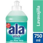 Detergente Lavavajilla Ala Plus Cremoso Con Aloe Vera 750 Ml