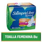 Toallas Femeninas SIEMPRE LIBRE Especial Con Alas Paquete 8 Unidades