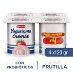 Yogur Entero YOGURISIMO Cremix Frutillas 120 Gr X 4 Unidades
