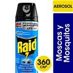 Insecticida Raid Mata Moscas Y Mosquitos Nueva Fórmula X2 Más Rápido En Aerosol 360cc