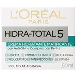 Crema LOREAL Hidra Total-5 Hidratante Matificante Cja 50m