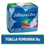 Toallas Femeninas SIEMPRE LIBRE Normal Con Alas Paquete 8 Unidades