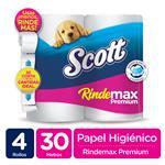Papel Higienico Scott Rindemax 30 Mts X4