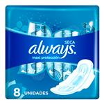 Toallas Femeninas ALWAYS Maxi Protección Con Alas    Paquete 8 Unidades
