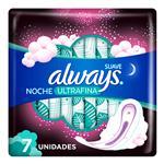 Toallas Femeninas ALWAYS Noche Con Alas 31 Cm De Largo   Paquete 7 Unidades