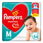 """Pañales  PAMPERS Supersec   """"M"""" 52 Unidades"""