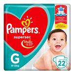"""Pañales PAMPERS Supersec """"G"""" 22 Unidades"""