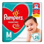 """Pañales PAMPERS Supersec """"M"""" 26 Unidades"""