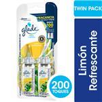 Aromatizante De Ambientes GLADE Toque Limón Refrescante Pack X2 Repuesto 2x9gr