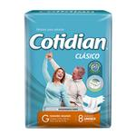 """Pañales Adulto COTIDIAN Classic """"G"""" 8 Unidades"""