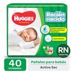 """Pañal """"Rn"""" HUGGIES Active Sec Primeros 100 Días """"Hasta 4 Kg"""" 40 Uni"""