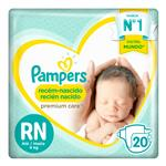 """Pañales PAMPERS """"RN"""" 20 Unidades"""