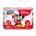 Rollo De Cocina FELPITA Disney 120 Paños Paquete 3 Unidades