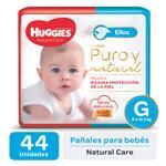 "Pañal ""G"" HUGGIES Natural Care ""9 A 12.5 Kg"" 44 Uni"
