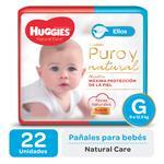 "Pañal ""G"" HUGGIES Natural Care ""9 A 12.5 Kg"" 22 Uni"