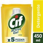 Detergente Concentrado Cif Active Gel Limón Repuesto 450 Ml