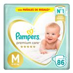 "Pañales PAMPERS Premium Care ""M"" 86 Unidades"