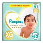 """Pañales  PAMPERS Premium Care   """"XG"""" 60 Unidades"""
