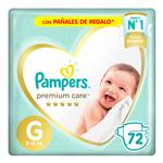 """Pañales PAMPERS Premium Care """"G"""" 72 Unidades"""