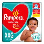 "Pañales  PAMPERS Supersec   ""XXG"" 34 Unidades"