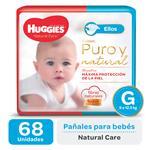 "Pañal ""G"" HUGGIES Natural Care ""9 A 12.5 Kg"" 68 Uni"