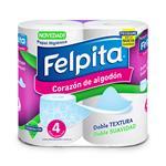 P.Higienico D/H X 4 Rollos Felpita Paq 8 M2