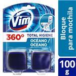 Bloque De Mochila Para Inodoro Vim Total Higiene Oceáno 100 G