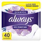 Protectores Diario Sin Perfume Always Paq 40 Uni