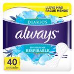 Protectores Diarios Always Respirable Sin Perfume 40 Unidades
