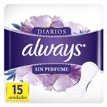 Protectores Diario Sin Perfume Always Paq 15 Uni