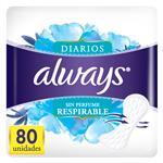 Protectores Diarios Always Sin Perfume Respirables 80 Unidades
