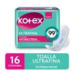 Toallas Femeninas Antibacterial  Kotex Paq 16 Uni