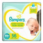 Pañales PAMPERS Premium Care Recién Nacido Rn+ 56 Un