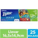 Bolsas Herméticas ZIPLOC Disney Pixar Para Llevar 25un