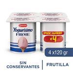 Yogur Entero Yogurisimo Firme Frutilla Pack X4 120 Gr
