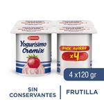 Yogur Entero YOGURISIMO Cremix Frutilla Pack X4 120 Gr
