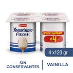 Yogur Entero YOGURISIMO Firme Vainilla Pack X4 120 Gr